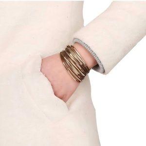 Brown & Gold Multi Row Magnetic Bangle Bracelet